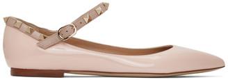 Valentino Pink Garavani Patent Ankle Strap Rockstud Ballerina Flats