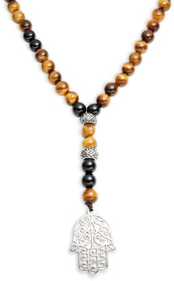 Jean Claude Stainless Steel, Black Agate, Tiger Eye Beaded Lariat Necklace