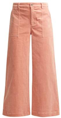 Ganni Ridgewood Wide Leg Corduroy Trousers - Womens - Light Pink