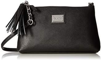 Calvin Klein womens Top Zip Tassel Saffiano Leather Crossbody
