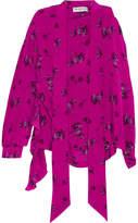 Balenciaga Asymmetric Printed Silk Crepe De Chine Blouse - Pink