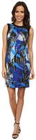 Vince Camuto Short Sleeve Back Zip Bold Brushstrokes Dress