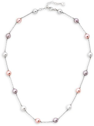 Majorica Illusion 8MM White, Nuage and Pink Organic Pearl and Sterling Silver Necklace