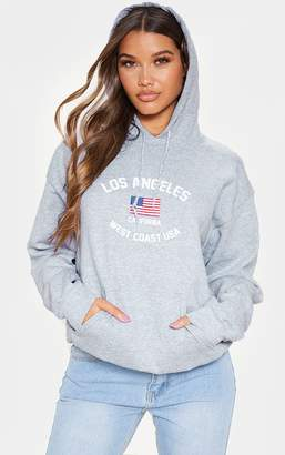 PrettyLittleThing Grey Los Angeles Slogan Oversized Hoodie