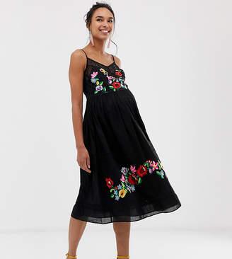 Asos DESIGN Maternity cami trapeze embroidered midi dress
