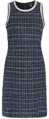 St. John Lustrous Plaid Sheath Dress