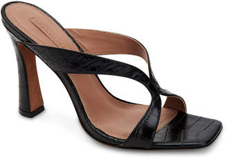 BCBGMAXAZRIA Ines Croc-Embossed Leather Slide Sandals