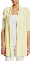 Eileen Fisher Half-Sleeve Slub Open-Front Cardigan