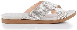 Paradox London Glitter 'Wisdom' Cross Front Wide Fit Flat Sandal