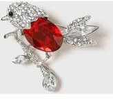 Dorothy Perkins Womens Silver Christmas Robin Brooch- Multi Colour