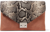 Loeffler Randall Python-effect Leather And Suede Clutch - Snake print