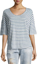 AG Adriano Goldschmied Glen Short-Sleeve Striped Linen Tee, Blue