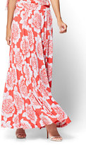 New York & Co. Slit-Front Maxi Skirt - Red Floral
