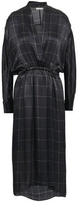 Vince Wrap-effect Checked Silk-satin Midi Dress