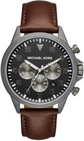 Michael Kors Men's Chronograph Gage Chocolate Leather Strap Watch 45mm MK8536