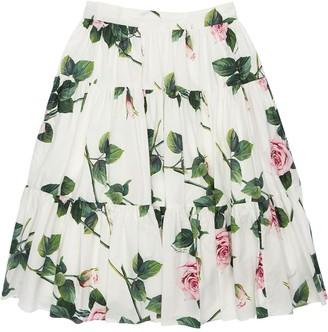 Dolce & Gabbana Rose Print Cotton Poplin Skirt