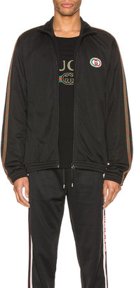 Gucci Oversize Mesh Jacket With Patch in Black & Multi | FWRD