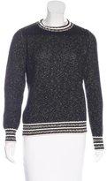 Maje Crew Neck Zip-Accented Sweater
