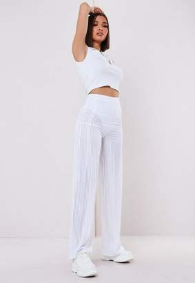 Missguided White Sheer Panel Ribbed Wide Leg Pants