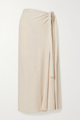 LAUREN MANOOGIAN Pima Cotton And Silk-blend Wrap Midi Skirt - Ecru