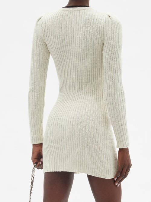 Thumbnail for your product : Self-Portrait Pussy-bow Ribbed Cotton-blend Lurex Mini Dress - Ivory