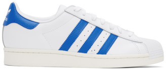adidas White and Blue Superstar Sneakers