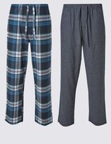 Marks and Spencer 2 Pack Brushed Cotton Checked Pyjama Bottoms
