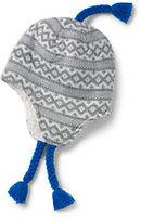 Classic Boys Fine Knit Sherpa Lined Peruvian Hat-Gray/Ivory Geo Fairisle