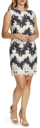 Vince Camuto Sleeveless Extended Shoulder Mix Media Shift Dress (Caviar) Women's Clothing
