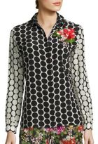 Etro Flower-Embroidered Polka Dot Silk Shirt