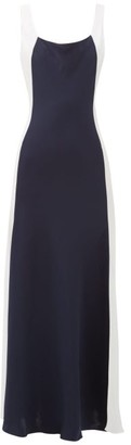Odyssee - Shore Panelled-satin Maxi Dress - Womens - Navy White