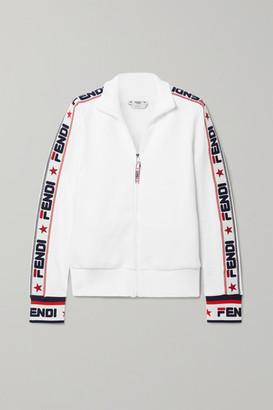 Fendi Embroidered Cotton-blend Jersey Track Jacket - White