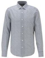 BOSS Printed slim-fit shirt in cotton with linen