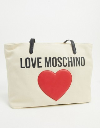 Love Moschino canvas tote bag with large logo in ivory