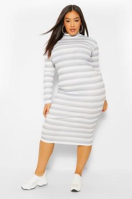boohoo Plus Rib Stripe High Neck Midi Dress