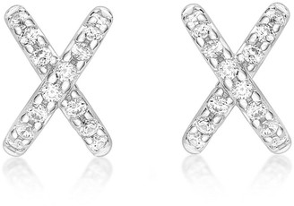 Love Gold 9ct White Gold Cubic Zirconia Cross Stud Earrings