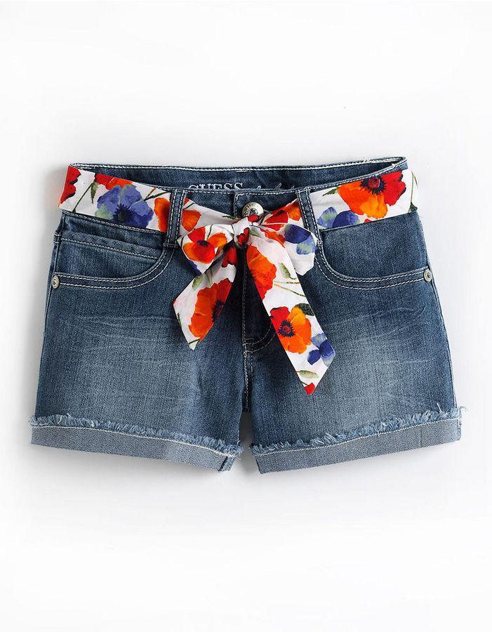 GUESS Tweens 7-16 Denim Shorts With Printed Sash