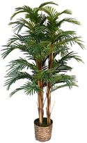 Laura Ashley 5 ft. Tall High End Realistic Silk Palm Tree with Wicker Basket Planter