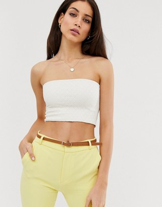 Stradivarius jersey bandeau with structure in white