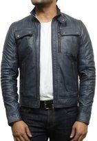 Brandslock Mens Classic Leather Biker Bomber Jacket Stylish Look