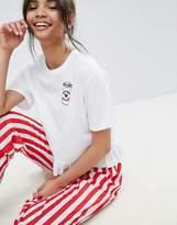 Asos Embroidered Espresso Yourself PANTS & Tee Pajama Set