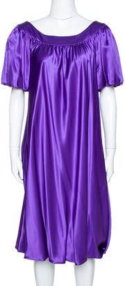 Dolce & Gabbana Purple Silk Satin Balloon Dress L