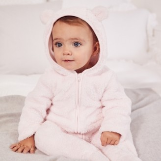The White Company Pink Fleece Romper, Pink, 12-18mths