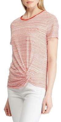 Lauren Ralph Lauren Striped Twist-Knot Linen-Blend Pocket Tee