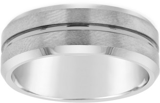 Men's Grooved 8mm Brushed Finish Tungsten Wedding Band