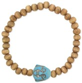 Z Designs Wood & Turquoise Bead Buddha Stretch Bracelet