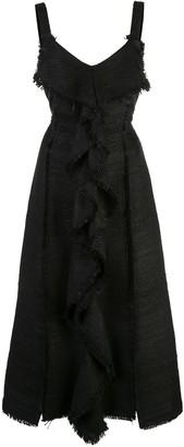 Proenza Schouler S/L Tie Dress-Solid Textured Tweed