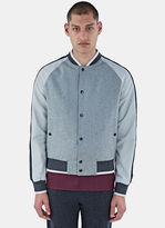 Lanvin Men's Felted Baseball Bomber Jacket In Grey