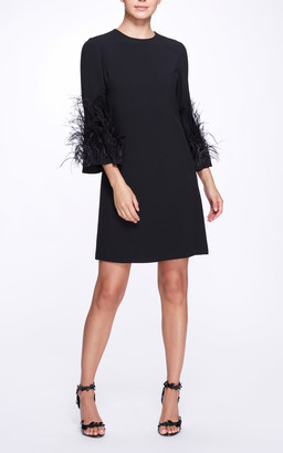Marchesa Feathered Creped Dress