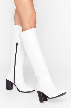 Nasty Gal Womens We Knee'd These Faux Leather Knee-High Boots - White - 3